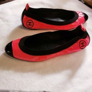 100% Authentic Chanel Neon Pink/Black Flats